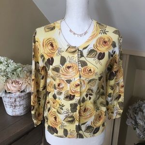 CAbi Yellow Floral Snap Front Jo Cardigan